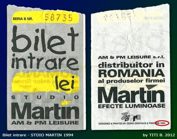 Bilet de intrare Studio Martin în 1994