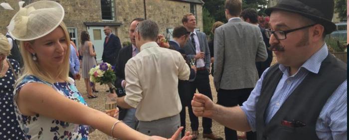 Entertaining a wedding guest in a courtyard