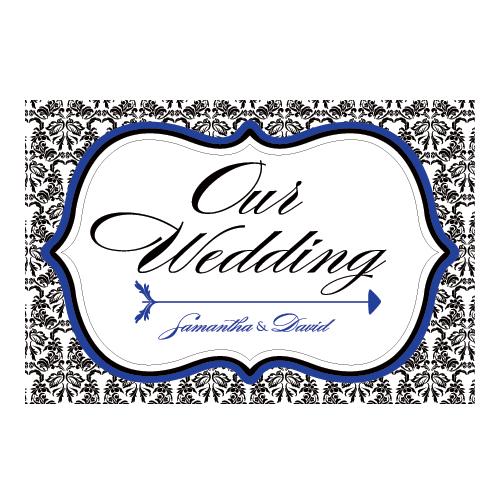 Love Bird Damask Wedding Directional Sign Royal Blue