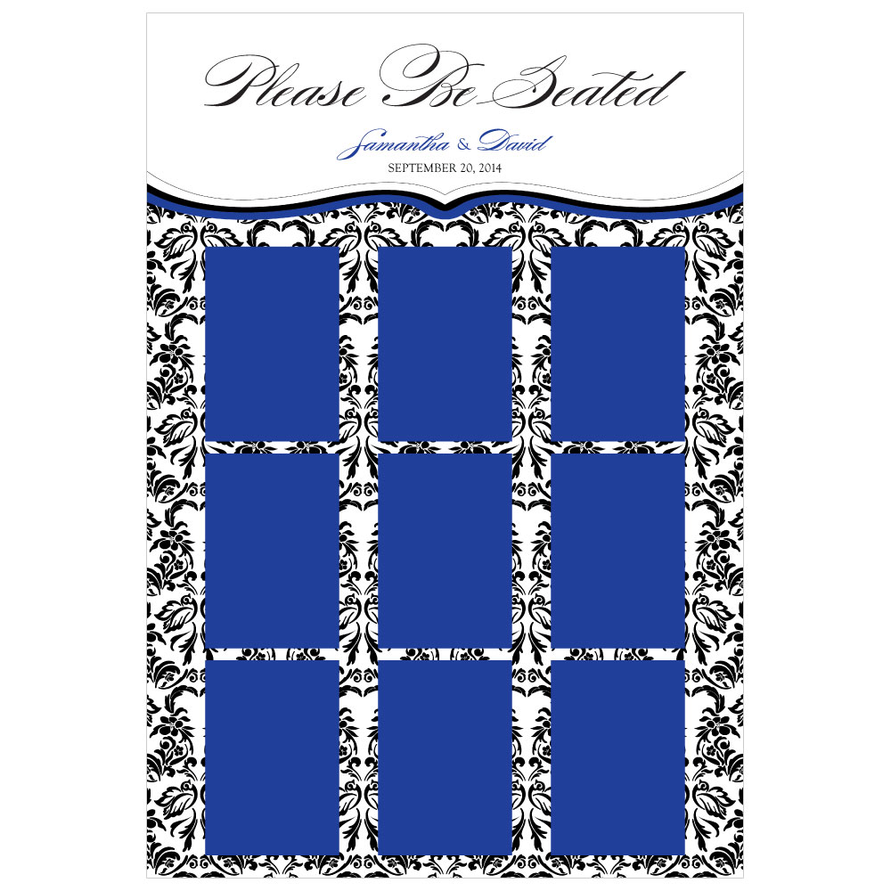 Personalized Seating Chart Kit with Love Bird Damask Design Royal Blue And Black