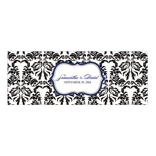 Love Bird Damask Mini Luminary Wrap Royal Blue And Black