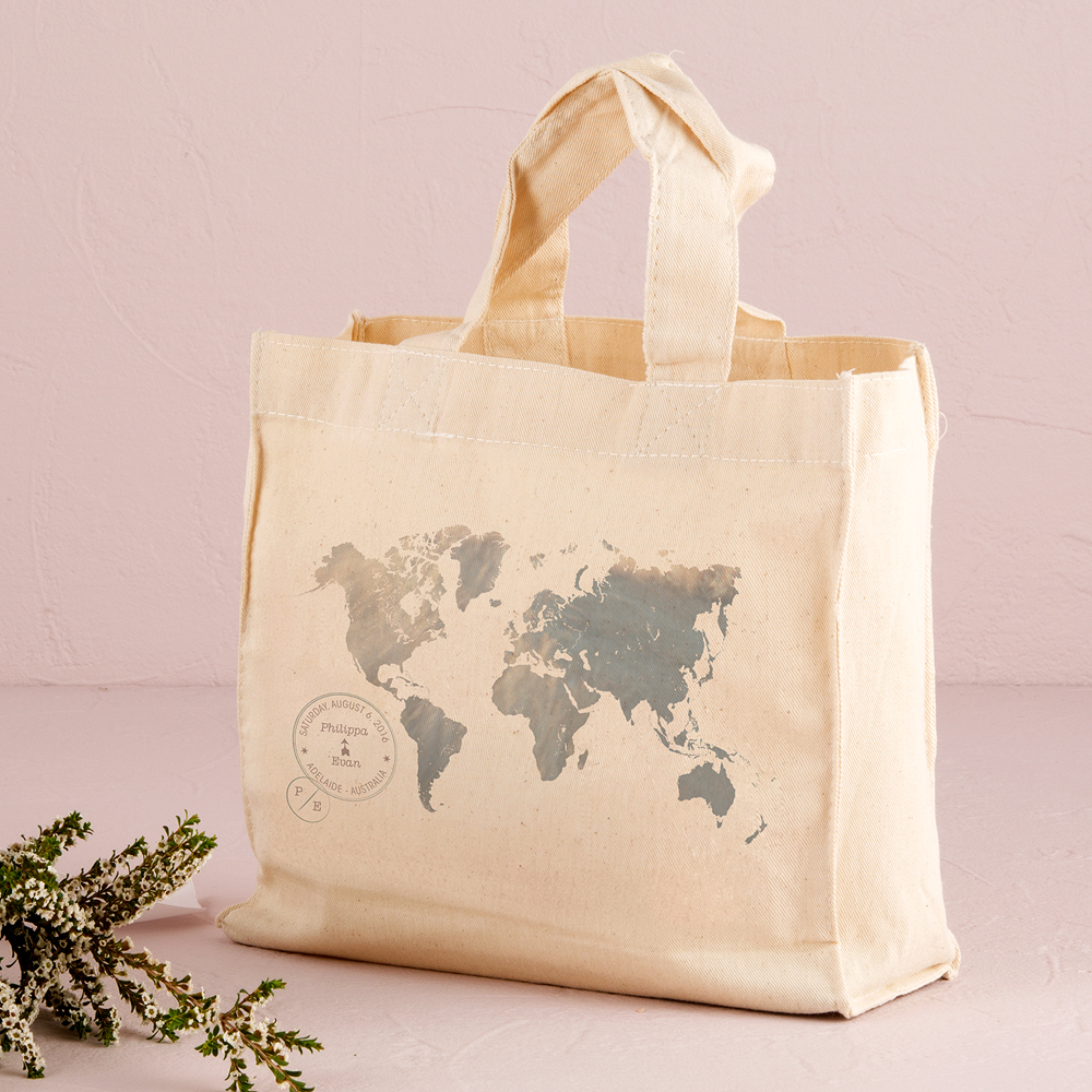 Wanderlust World Map Personalized Tote Bag Mini Tote with Gussets