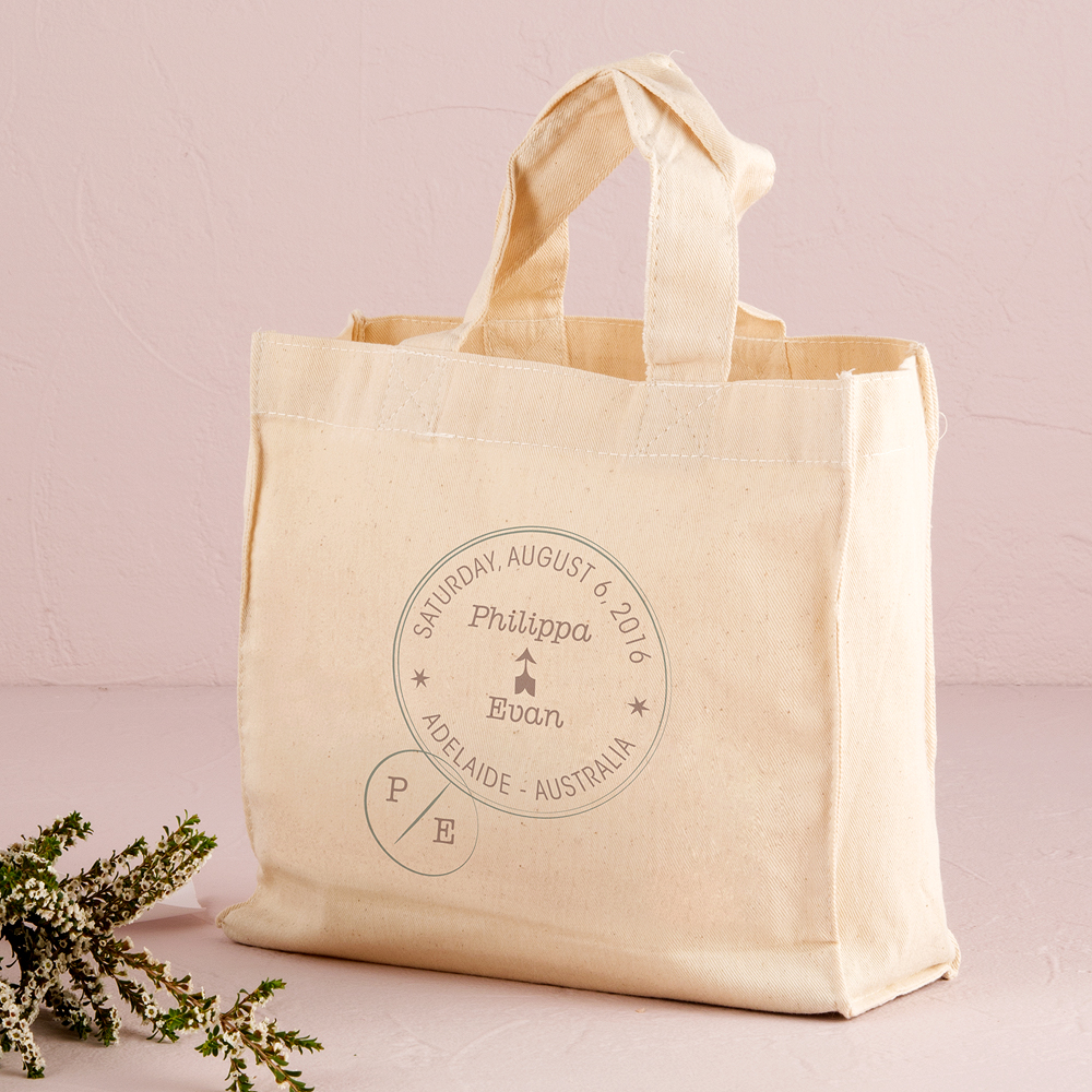 Wanderlust Passport Stamp Personalized Tote Bag Mini Tote with Gussets