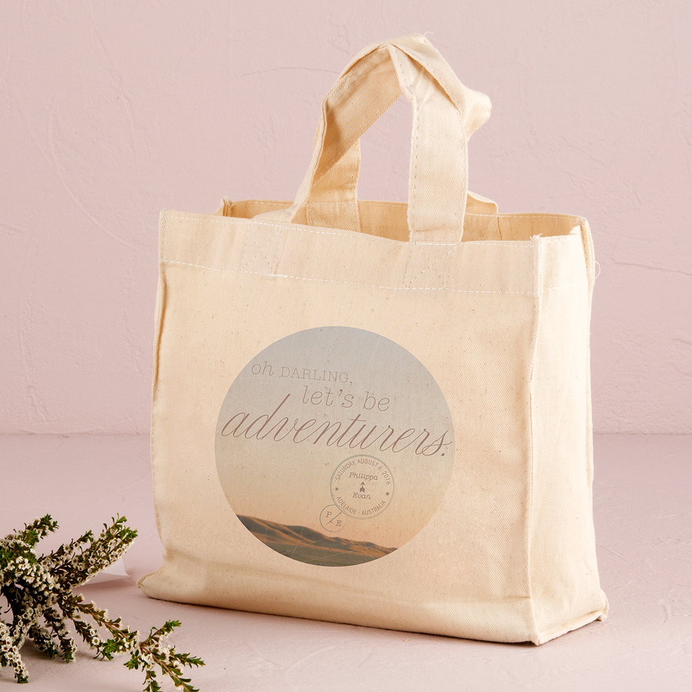 Wanderlust Oh Darling, Let's Be Adventurers Personalized Tote Bag Mini Tote with Gussets
