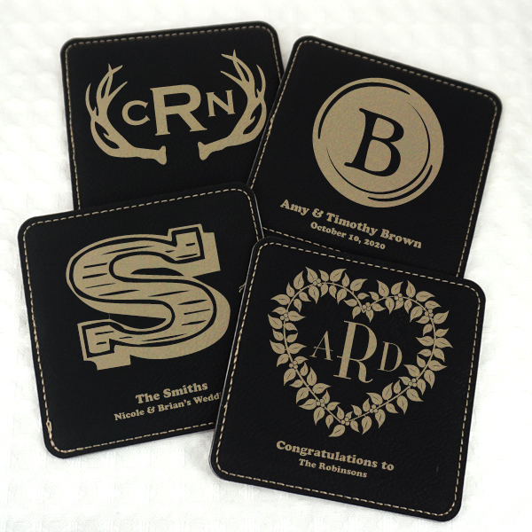 1979002--Monogram Square Faux Leather Coasters