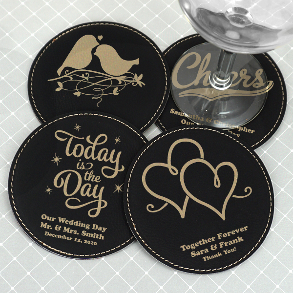 1989000--Personalized Round Faux Leather Coasters