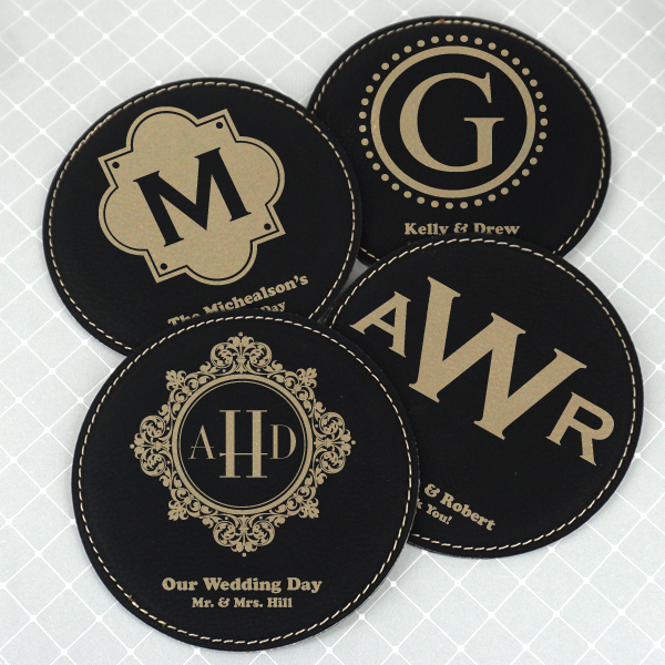 1989002--Monogram Round Faux Leather Coasters