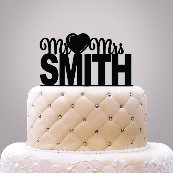 2519012--Personalized Mr & Mrs With Icon Caketopper