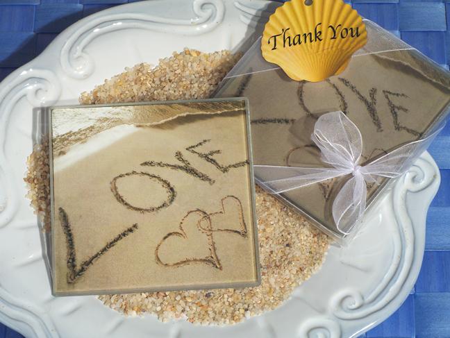 900-Love On The Beach Glass Coasters