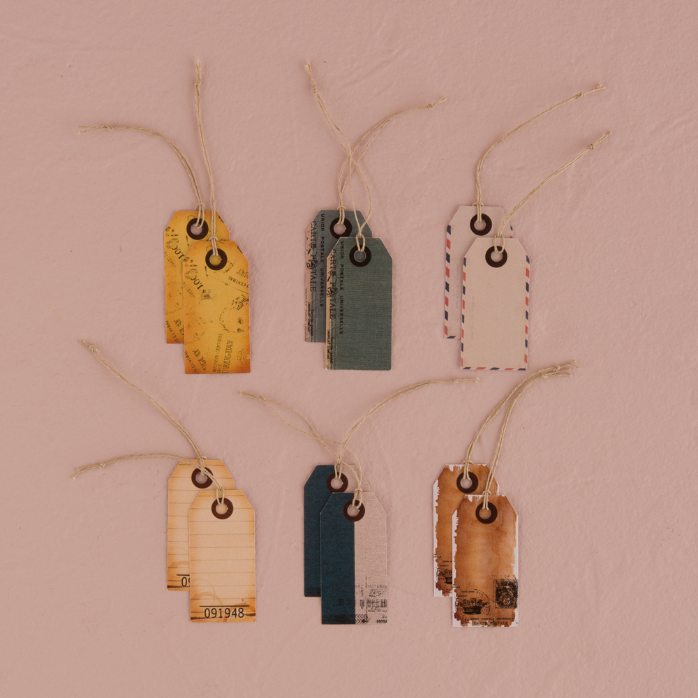 Well Traveled Vintage Paper Shipping Tags with Twine Ties