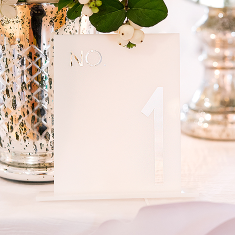 White Acrylic Table Number - No. in Block Style