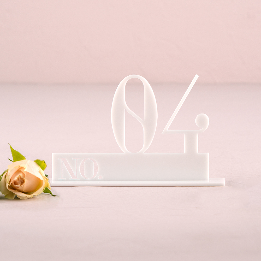 White Acrylic Table Number - Double Digit Style