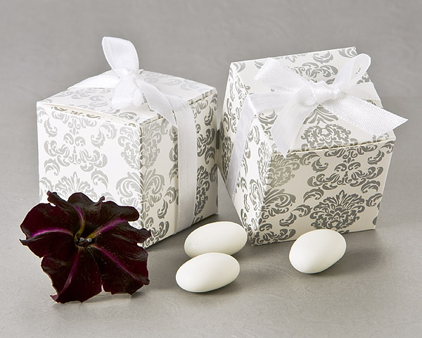 Classic Damask Square Favor Box 24 Pack