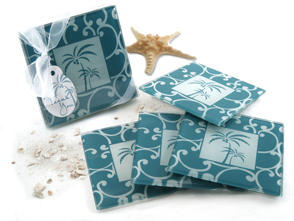 Tropical Breeze Palm Tree Glass Coasters Set Of 4