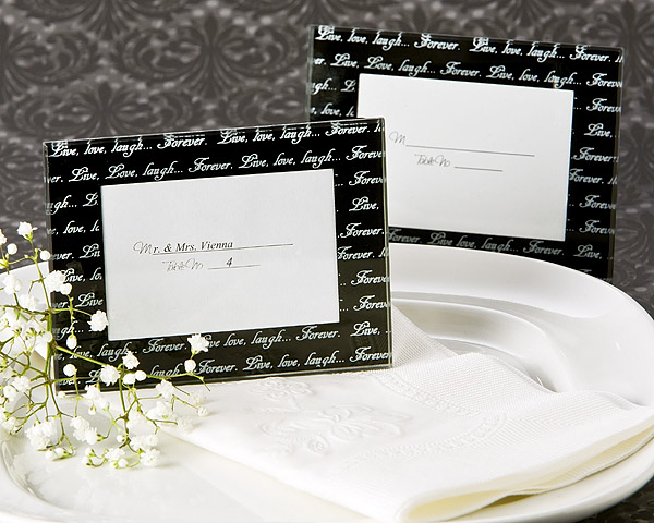 Live, Love, LaughÂ… Mini Photo Frame Place Card Holder In Black Pack Of 4