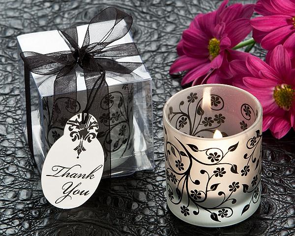 Frosted Elegance Black And White Tea Light Candle Holder Set Of 4