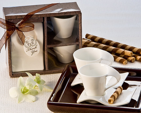 Swish Cup And Biscotti Plate Favor Set Of 2