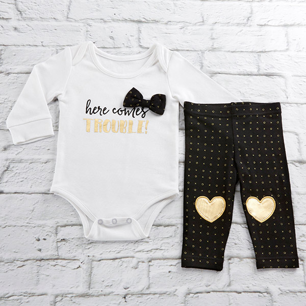 BA16100PK-Trendy Baby Here Comes Trouble 2 Piece Outfit