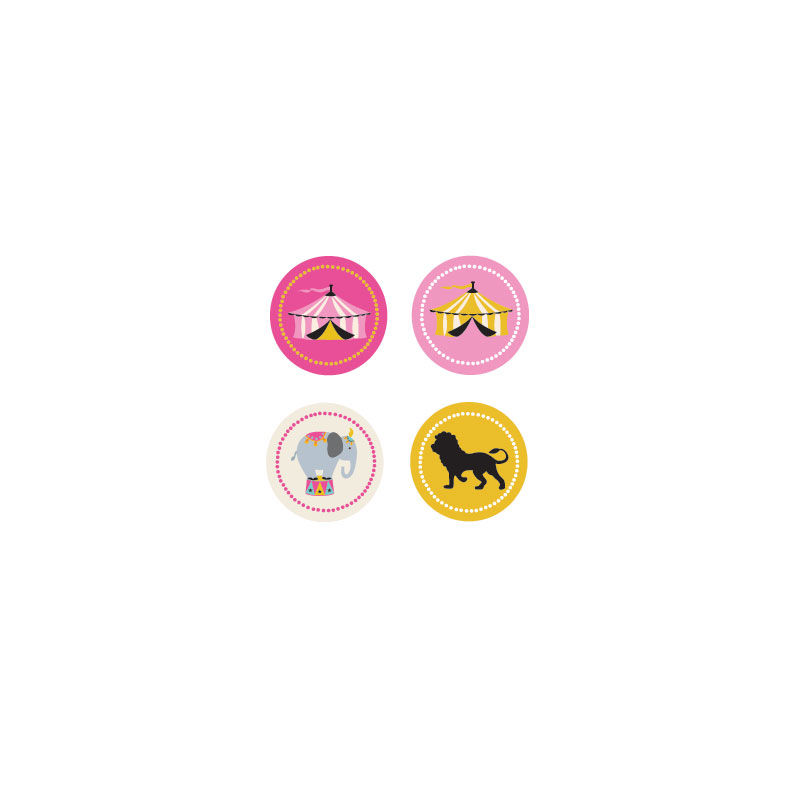EB3004PKC-Pink Circus Party Decorative Mini Stickers Set Of 32