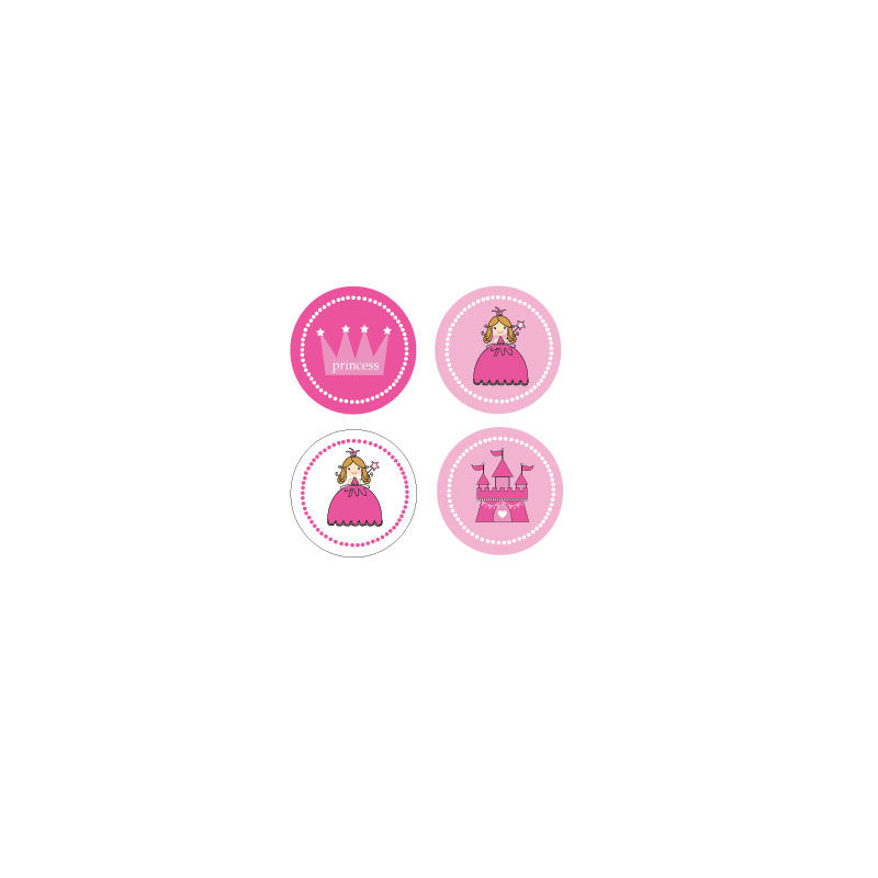 EB3004PRP-Princess Party Decorative Mini Stickers Set Of 32
