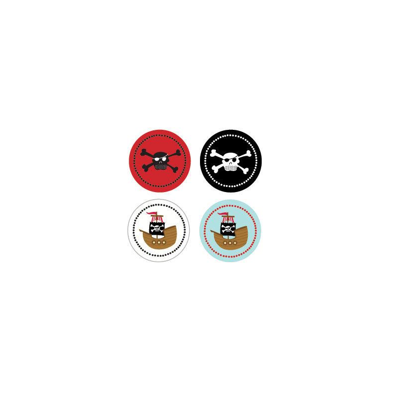 EB3004PR-Pirate Party Decorative Mini Stickers Set Of 32