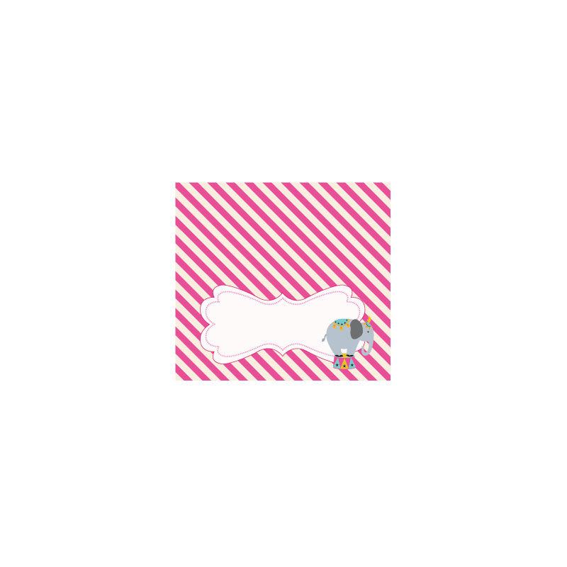 EB3006PKC-Pink Circus Party Menu Cards Place Cards Set Of 6