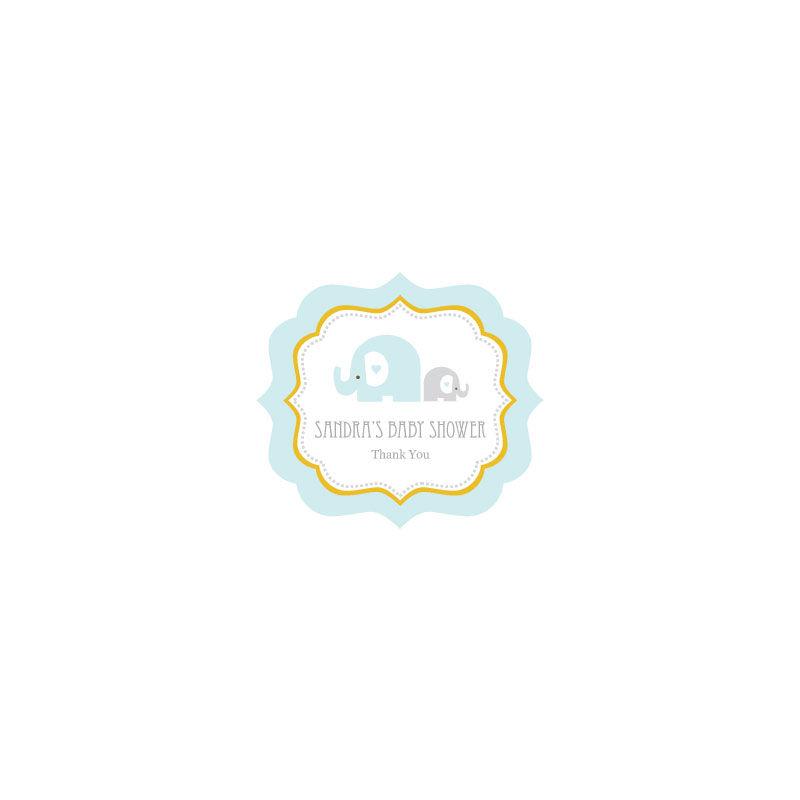 EB3020BEL-Blue Elephant Frame Personalized Labels