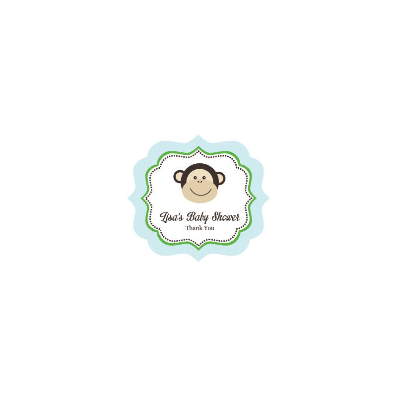 EB3020BM-Blue Monkey Party Frame Personalized Labels