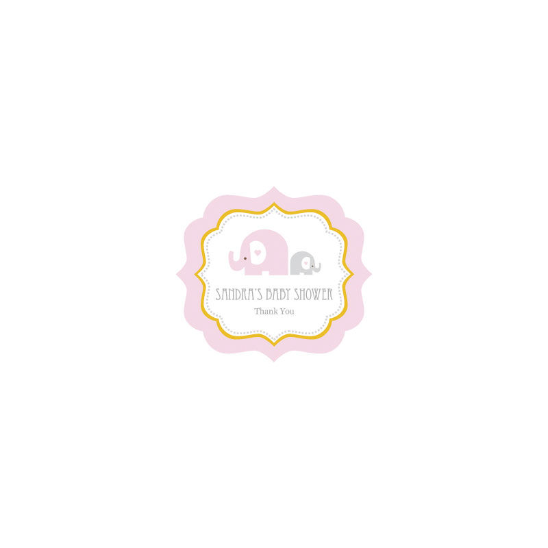 EB3020PEL-Pink Elephant Frame Personalized Labels