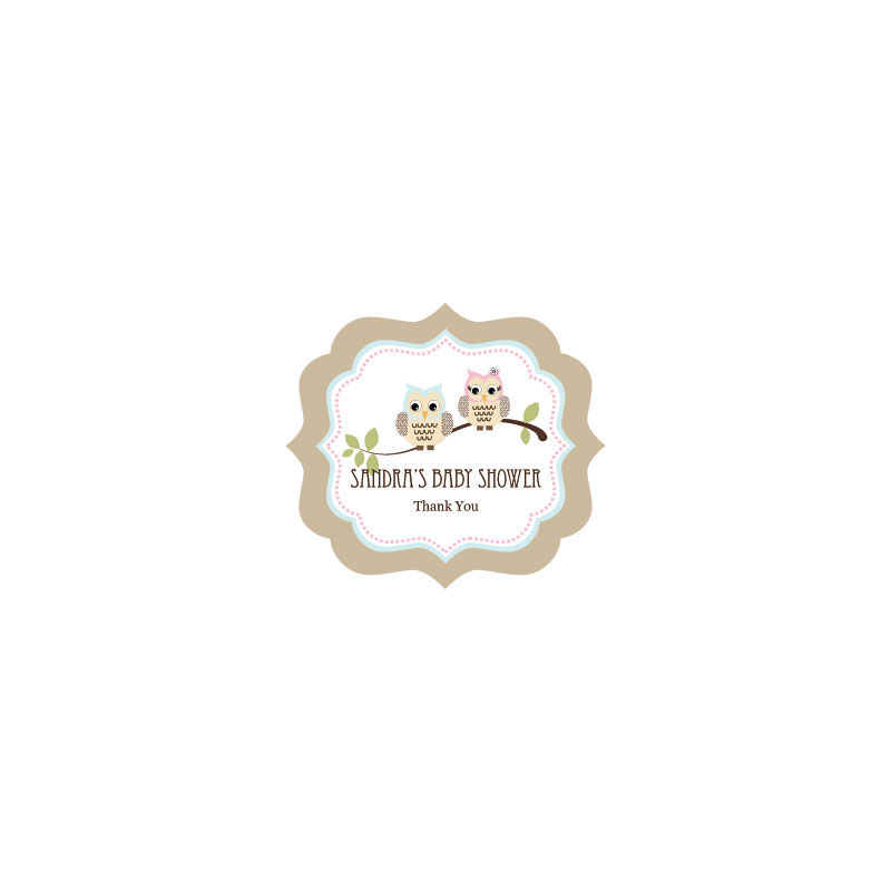 EB3020WOL-Woodland Owl Frame Personalized Labels
