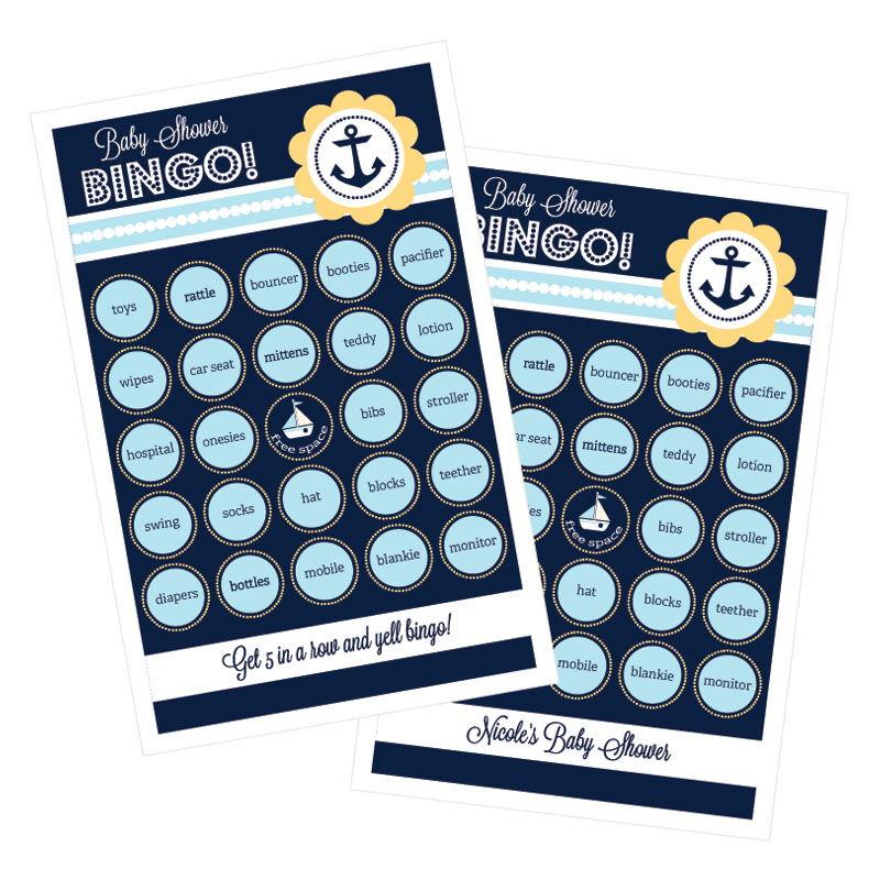 EB3021NBS-Nautical Baby Shower Bingo Set Of 16