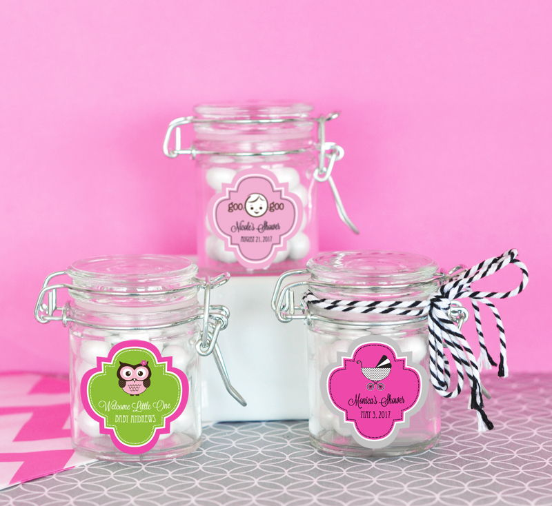 EB3023B-Personalized Baby Shower Glass Jar With Swing Top Lid Mini