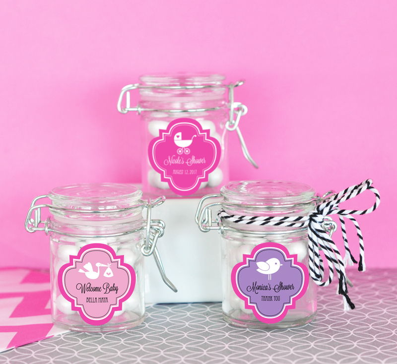 EB3023MDB-Personalized Mod Pattern Baby Shower Glass Jar With Swing Top Lid Mini