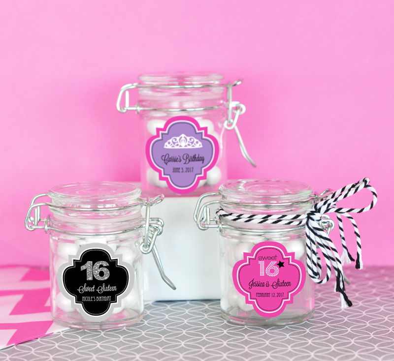 EB3023S-Personalized Sweet 16 Or 15 Glass Jar With Swing Top Lid Mini