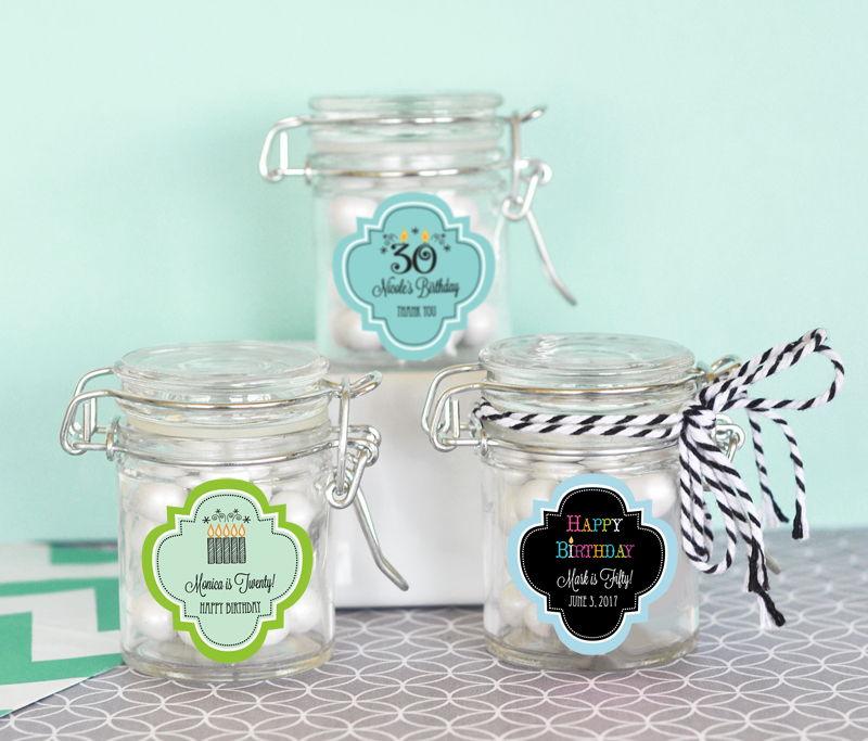 EB3023Y-Personalized Birthday Glass Jar With Swing Top Lid Mini