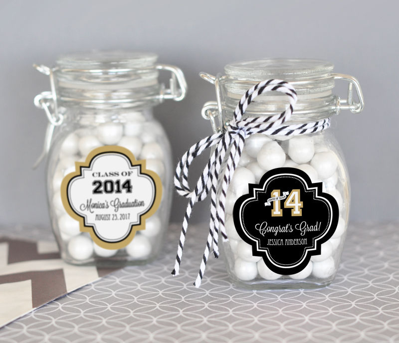 EB3024G-Personalized Glass Jar With Swing Top Lid Small