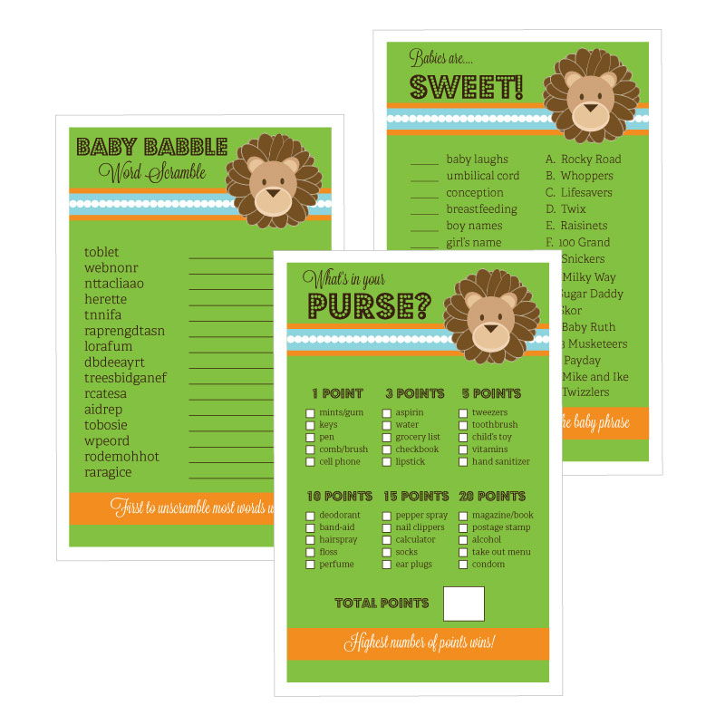 EB3027JS-Baby Shower Games Set Of 10 Jungle Safari