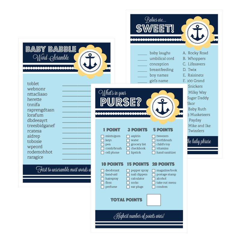 EB3027NBS-Baby Shower Games Set Of 10 Nautical Baby Shower
