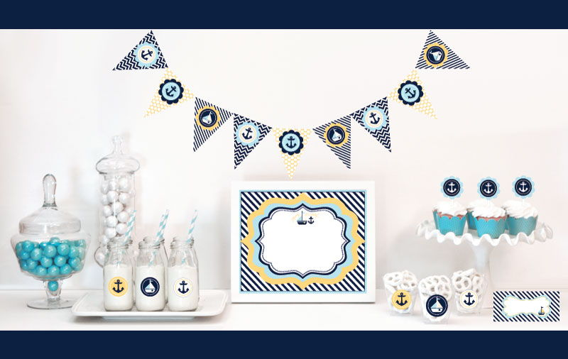 EB4000NBS-Nautical Baby Shower Decorations Starter Kit