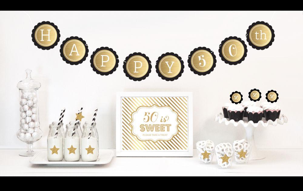 EB4011BY-Gold & Glitter Birthday Decor Kit