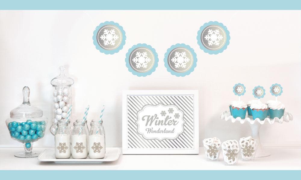 EB4011WTR-Silver & Glitter Winter Wonderland Decor Kit