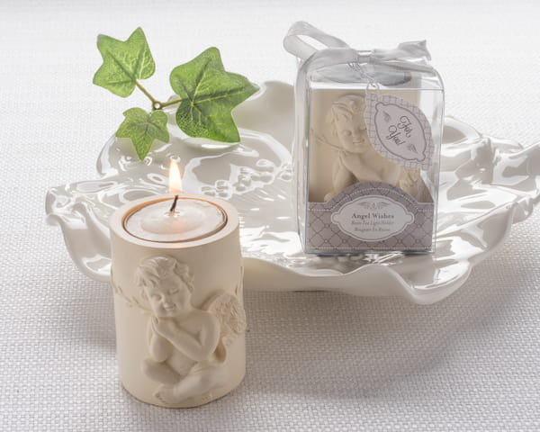 Angel Wishes Cherub Tea Light Candle Holder Favor Cherub Figurine
