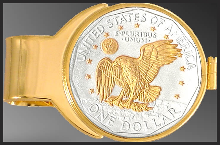 C273-AL2 Apollo Landing Dollar (Susan B. Anthony) Gold Plated Money Clip