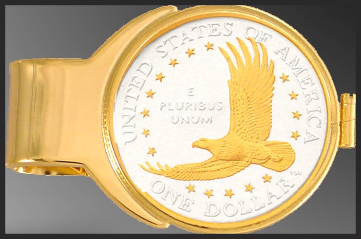 C273-ED2 Eagle Dollar (Sacagawea) Gold Plated Money Clip