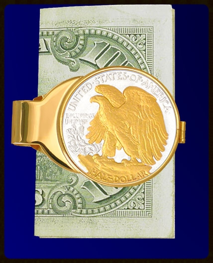 C303-WE2 Walking Eagle Gold Plated Money Clip