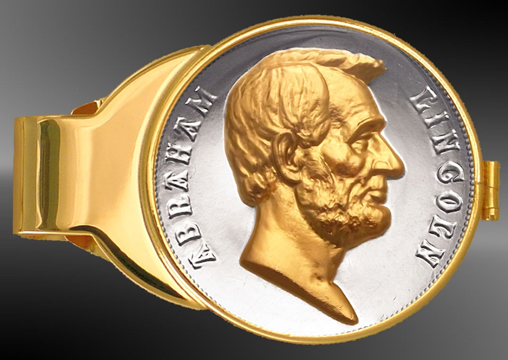 C333-MAL2 Abraham Lincoln US Mint Medal Gold Plated Money Clip