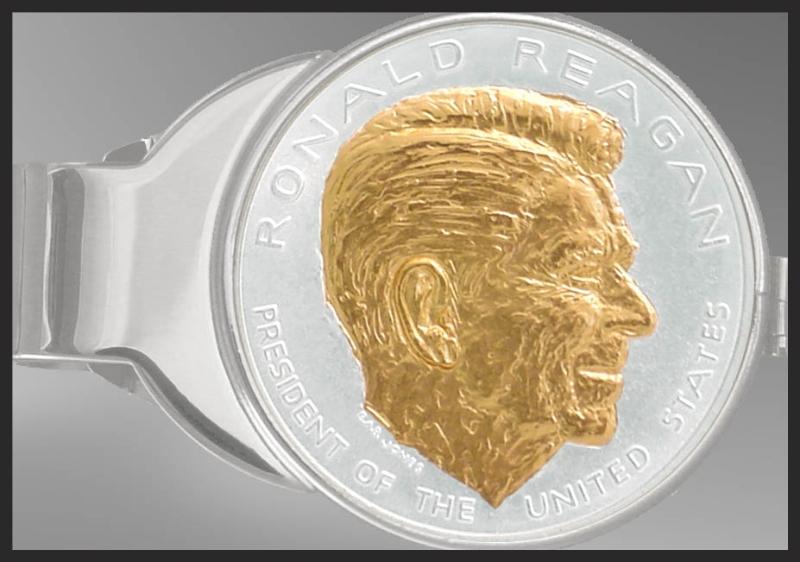 C337-PRR12 Ronald Reagan Nickel Money Clip