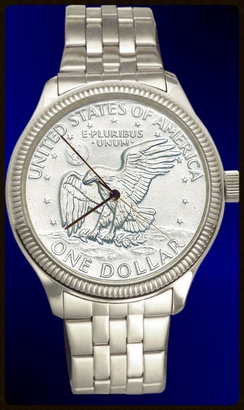 DS111-LD1-1 Apollo Landing Dollar Mens Bracelet Coin Watch With Uncirculated Coin and Stainless Steel Bracelet