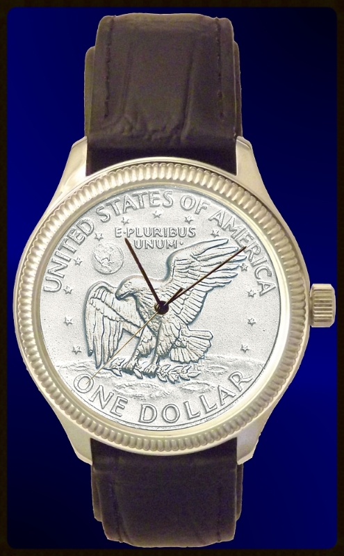 DS111-LD1-5 Apollo Landing Dollar Mens Coin Watch With Uncirculated Coin and Leather Strap
