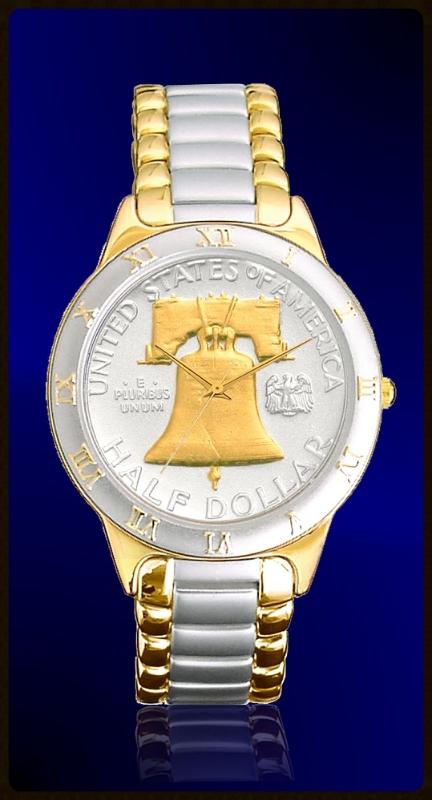 R323-NLB2-L2 Liberty Bell Half Dollar Ladies Bracelet Coin Watch